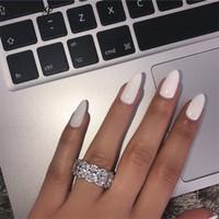 Kadınlar İçin Çarpıcı Sınırlı Üretim Eternity Band Promise Yüzük 925 Gümüş 11pcs Oval Elmas Nişan Rings choucong