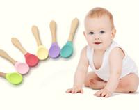 Silikon İpucu Kaşık Kaşık Kolay Tutma Kolu yürümeye başlayan çocuklar Bebek Hediyeleri GFJ665 Besleme Bebek Bambu Eğitim Kaşık Organik Yumuşak Bebek