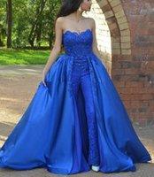 Скромные длинные кружевные комбинезоны вечерние вечеринки платья с избытками элегантные платья возлюбленной шеи королевские голубые выпускные платья 2019
