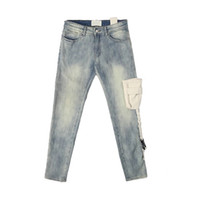dongguan_ss in magazzino tasca tattica Jeans aderenti Distressing Vintage lavato motociclista Jeans Streetwear