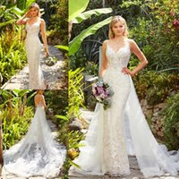 Sexy V Neck Lace Appliqued Backless Mermaid Wedding Dress 20...