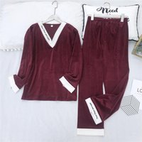 Winter Fall Velvet Damen Nachtwäsche Fashion Solid-Muster-Dame Pyjamas Set 5 Farben Indoor Casual Weibliche Heim Kleidung