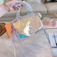 حار الجديد النقش الكلاسيكية حزمة PVC أكياس شفافة ليزر وسادة حقيبة إبهار لون واحد كتف CROSSBODY يد محفظة حقائب اليد