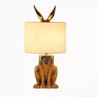 أضواء الجدول الحديثة الذهب ملثمين الأرنب القماش عاكس الضوء مصابيح الجدول غرفة المعيشة السرير الإبداعي LED مكتب مصباح