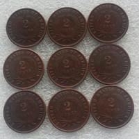 Нам набор (1865-1873) 9pcsTwo центов 100% медные монеты копия промотирования