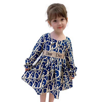 fashion fall girls dress long sleeve popular kids children c...
