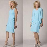 Blue Sky Blue 2020 Breve madre della sposa Abiti con giacca Semplice formale in chiffon in chiffon in chiffon di The Groom Gown Plus Size