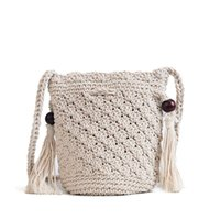 Fringed Woven Bucket Bag New Fashion Personality Shoulder Ba...
