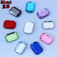 Micui 200PCS 10 *의 14mm 의류 공예 ZZ717 플랫 돌아 가기 크리스탈 아크릴 모조 다이아몬드 납 크리스탈 돌 사각형 보석