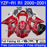 Corpo para YAMAHA brilhante Vermelho branco YZF 1000 YZF R 1 YZF-1000 YZFR1 00 01 Quadro 236HM.48 YZF-R1 00 01 Carroçaria YZF1000 YZF R1 2000 2001 Carenagem