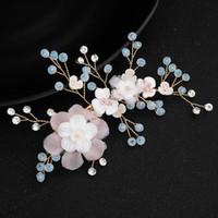 Gelin Saç Pin Düğün Takı Pembe Çiçek Mavi Elmas taklidi Tiaras Saç Aksesuarları Köpüklü Gelin Saç headpieces