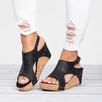 Sandalias de las mujeres acuña los zapatos de las mujeres altos sandalias con zapatos de plataforma Mujer talones de cuña peep toe zapatos de las mujeres del verano