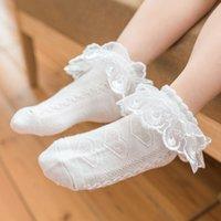 La flor del acoplamiento de encaje con volantes muchacha de los cabritos del tobillo corto calcetines del bebé de princesa Girls calcetines 1-8Y
