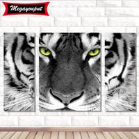 DIY Tiger-Diamant-Malerei 5D Tierhauptdekoration Diamant-Stickerei-Kreuz-Stich-Geschenk für Freunde DH0340