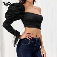 JillPeri femmes manches bouffantes une épaule Crop Top Sexy bretelles Noir Plein Petit filet Chemisier Outfit luxe ultra courtes Chemises