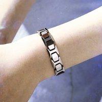 Новый исцеляющий Магнитный браслет Мужчины / Женщины Титановая сталь 2 элемента здравоохранения магнитный турмалин розовое золото браслет ручная цепь
