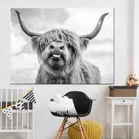 Siyah ve Beyaz Highland İnek Sığır Duvar Tuval Sanat İskandinav Poster Boyama ve Salon İskandinav Duvar Resmi yazdır
