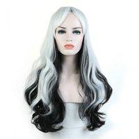 Длинные волнистые белые градиентные костюма волос парики для волос термостойкий синтетический парик для женщин принцесса Хэллоуин косплей