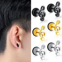 10 PCS Homens Música Notas Falso Plugue Da Orelha Barbell Brincos Calibre Flesh Tunnel Cheater piercings Ear Expander Expansor Jóia Do Corpo