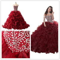 Setwell Real Pic Sweet 16 Strapless Ball Gown Organza Quinceanera Abito senza maniche lunghezza del pavimento PUFFY Tiered Beaded Bridal Gown
