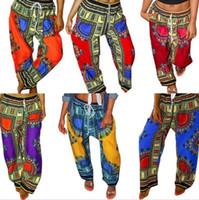 Dashiki Чехи Брюки Digital Printed Сыпучие Длинные брюки African Vintage Ankara брюк Summer Карман Повседневный Plus Широкие брюки ноги C662