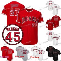 45 Tyler Skaggs Memorial Patch Los Angeles 27 Mike Trout Ang...