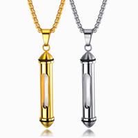 collana pendente per delle donne degli uomini titanio acciaio inossidabile del nastro collana dorata bottiglia profumo di cane ceneri gioielli gatto ceneri