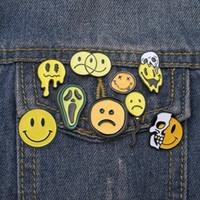 Nio olyckliga Smileys Brosches Pins Skull Ansikte Avokado Jeans Emalj Lapel Pin Butting Badge Cartoon Smycken Giftvän
