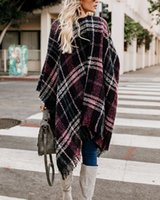 Женский накидливый клипсы Cardigan контрастный плед кисточка вязание пружины мода повседневная вариация вязаная куртка пальто свободно свитер одежда для женщин
