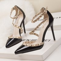 2019 fetish red high heels women shoes wedding shoes Rivet m...
