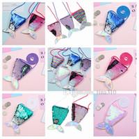 Marka yeni payetli sikke çanta çocuk messenger çanta yaratıcı fishtail mini çanta dekoratif aksesuarları karikatür çocuk hediyeler T2D5016