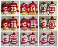 Calgary Flames 14 Theoren Fleury Forması Erkekler 25 Joe Nieuwendyk 30 Mike Vernon 39 Doug Gilmour Kırmızı Beyaz Vintage Buz Hokeyi Formaları