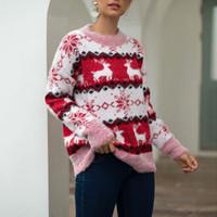 Maglioni da donna Ximm @ CH Autum inverno maglione natale maglione a maniche lunghe fiocco di neve e rudolph pattern allentati a maglia a maglia tira sopra cm08071f