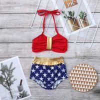 Детские дизайнерские одежда для девочек Купальники Летняя мода Детские плавательные костюмы мягкие удобные дышащие две части набор новых