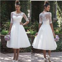Vestido de Noiva curto más nuevo Sheer cucharada media manga corta vestido de boda barato de encaje apliques de té de longitud vestido de novia jardín País
