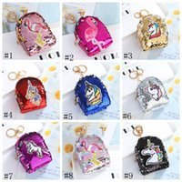 Niñas Sirena Bolsa Moneda Bolsa Favorecer Lentejuelas Brillo Llavero GGA2843 Money Mini Monedero Moneda 12 Estilos Zipper Unicorn Llaveros Flamingo Pur Dole
