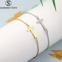 Crucifix Jesus Christian Horisontell Sideways Cross Armband Guld Silver Färg Rostfritt Stål Armband för Kvinnor Män Charm Smycken Gift-Z