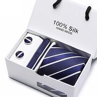 Новый дизайнер шелковый галстук костюм праздник упаковка подарка 7.5cm Галстуки Streak Corbata Тонкий Полосатый Галстук Cravat Одежда Аксессуары Подогреть сетки Галстуки