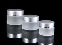 Neues 10g / 20g / 30g Frosted Creme Glasglas Kosmetik Probe leeres Behälterglas Round Pot Schraubverschluss Deckel Kleines Tiny Bottle