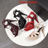 Sandales Designer Star Tribute Sandales en cuir verni plateforme Stiletto haut talon Chaussures 10/14 cm Sandales Talons T-strap avec boîte eur 41