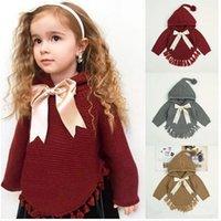 Kinder-Designer-Kleidung Mädchen Pullover Kinder Bow Knit Hoodie Frühling Herbst Langarm Winter Pullover Mantel Mode Baby Kleidung D982