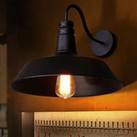 Ac110-230v klassisk vintage industriell d26cm gooseneck vägg lampor svart vit ljus kök restaurang modern vägg sconces arandela svart