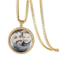 Özel Fotoğraf Yuvarlak Madalyonlar Kolye Kolye Tenis Zinciri ile Altın Gümüş Renk Kübik Zirkon erkek kadının Hip hop Jewelr