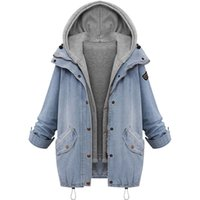 Plus Size 7XL Winter Women Jean jacket Warm Collar Hooded Co...