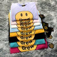 2020 Drew House camiseta de manga corta de la cadera O-Hop de algodón de cuello camiseta de los hombres de las mujeres sonrisa dibujó Tees Streetwear Tops