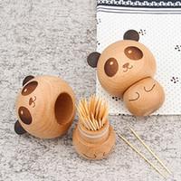 Figura del panda Portastuzzicadenti Cute Cartoon legno Box Tatuaggi Home Ristorante ornamento hotel bagagli Legno stuzzicadenti Dispenser