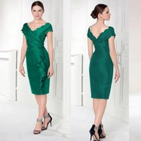 CHeap V- neck Satin Sheath Mother Dresses With Ruched Ruffles...