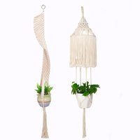 Macrame Plant Hanger Long Suspended Wall Planter Cotton Rope...