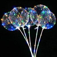 Ballon à LED Eclairage transparent Bobo Ball Ballons avec pôle de 70cm 3M String Ballon Jurel De Noël Décorations de fête de mariage