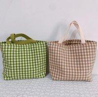 Buffalo Verifique Bolsa de algodão da manta Bolsa de Ombro Mulheres Sacos de compra de Grande Capacidade de viagem Tote Sports Duffle Bag Lunch Bolsas GGA3480-2
